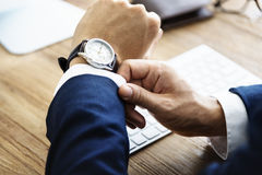 Business Man Check Time Delay Concept Royalty Free Stock Images
