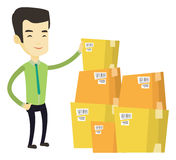 Business man checking boxes in warehouse. Asian business man working in warehouse. Business man checking boxes in warehouse. Business man preparing goods for vector illustration