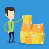 Business man checking boxes in warehouse. Asian business man working in warehouse. Business man checking boxes in warehouse. Young business man preparing goods royalty free illustration