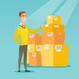 Business man checking boxes in warehouse. Caucasian business man working in warehouse. Business man checking boxes in warehouse. Young business man preparing royalty free illustration