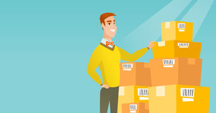 Business man checking boxes in warehouse. Caucasian business man working in warehouse. Business man checking boxes in warehouse. Young business man preparing stock illustration