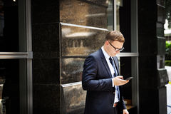 Business Man Checking Email Outdoors Concept Royalty Free Stock Image