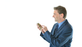 Business man checking smart phone. Business man making checking his smart phone Royalty Free Stock Images
