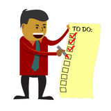 Business man checking to do list. Business man checking off his completed tasks from a to do list vector illustration