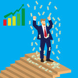 Business man cheer on top of stairs with falling money, , illustration Royalty Free Stock Photos