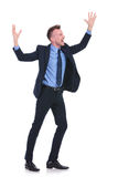 Business man cheering Royalty Free Stock Images