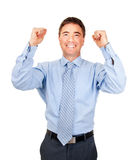 Business man cheering great deal Royalty Free Stock Photography
