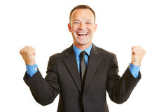 Business man cheering with his clenched fists Royalty Free Stock Photography