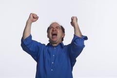 Business man cheering, horizontal Royalty Free Stock Photo