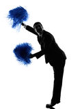 Business man cheerleading silhouette. One caucasian business man cheerleading in silhouette  on white background Royalty Free Stock Photography