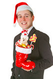 Business man with a Christmas Stocking Stock Image