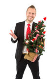 Business man with christmas tree - man isolated on white backgro Royalty Free Stock Photo