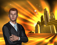 Business man with city background Stock Image