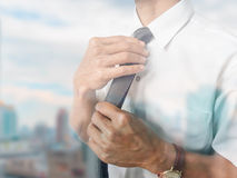 Business man on city background Royalty Free Stock Photo
