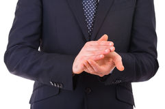 Businessman clapping his hands. Royalty Free Stock Photography