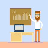 Business Man In Class Board Laptop Computer Teacher Seminar Training Conference Presentation Financial Chart Stock Images