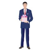 Business man in classic suit holding box gift present. Stock Photos