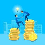 Business Man Climb Coins Stack, Businessman Support Help Flat 3d Isometric Design. Vector Illustration Royalty Free Stock Photos