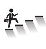 Business man climb stairs over white background Royalty Free Stock Image