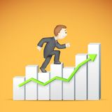 Business man climbing Bargraph. Illustration of 3d business man in vector climbing bar graph Stock Image