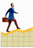 Business man climbing graph. Hand drawn illustration royalty free illustration
