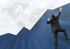 Business man climbing graph up - success Stock Photo