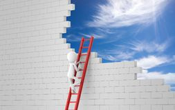 Business man climbing a ladder to a wreckage wall. 3d rendering Royalty Free Stock Photos