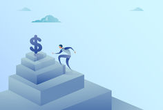 Business Man Climbing Stairs To Dollar Sign Finance Growth Success Concept. Flat Vector Illustration Royalty Free Stock Photos