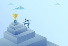 Business Man Climbing Stairs To Winner Cup Success Concept. Flat Vector Illustration Royalty Free Stock Image