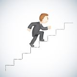 Business man Climbing Success Stair. Illustration of 3d business man in vector climbing success stair Royalty Free Stock Photography
