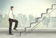 Business man climbing up on hand drawn staircase concept Stock Images