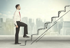 Free Business Man Climbing Up On Hand Drawn Staircase Concept Stock Images - 49021704