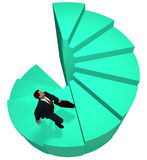 Business man climbs to top spiral success steps. Business man climbs up to the top of 3D spiral success stairs steps Stock Images