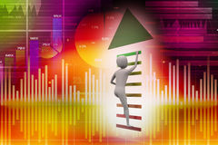 Business man climbs up stairs to arrow direction to success. In colour background Stock Photo