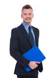 Business man with clipboard in his hand Stock Photos