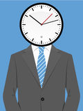 Business man with clock head Royalty Free Stock Image