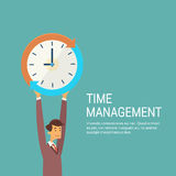 Business Man With Clock Time Management Concept Stock Photography
