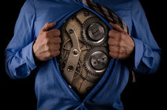 Business man with clockwork inside Stock Photography