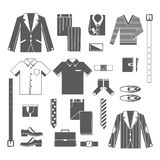 Business Man Clothes Icons Set Stock Image