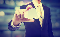 Business man with cloud computing concept Royalty Free Stock Image