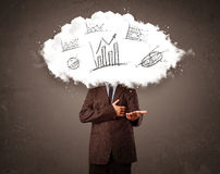 Business man cloud head with hand drawn graphs concept Stock Image