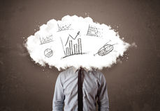 Business man cloud head with hand drawn graphs concept Royalty Free Stock Images