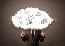Business man cloud head with hand drawn graphs Royalty Free Stock Photo