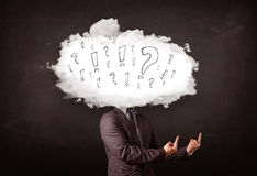 Business man cloud head with question and exclamation marks Stock Image