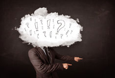 Business man cloud head with question and exclamation marks Stock Images