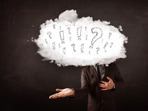 Business man cloud head with question and exclamation marks Stock Photography