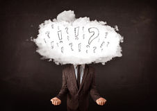 Business man cloud head with question and exclamation marks Royalty Free Stock Image