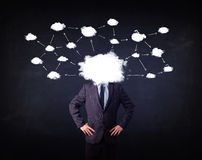 Business man with cloud network head. On grungy background Royalty Free Stock Images