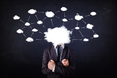 Business man with cloud network head Royalty Free Stock Image