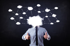 Business man with cloud network head Stock Images